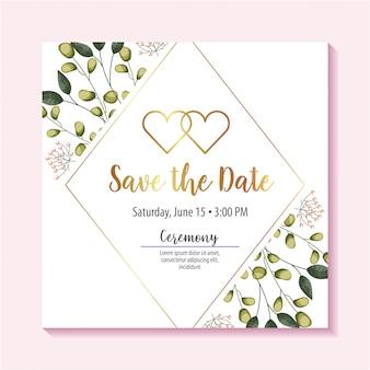 Salve o rótulo de data com folhas de folhagem e corações