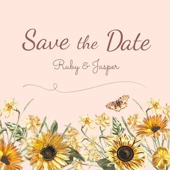 Salve o vetor de maquete de convite de casamento de data