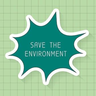 Salve o vetor de modelo de ambiente, balão de fala, plano de fundo de padrão de grade