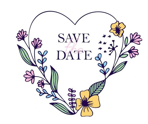 Salve os corações de mão desenhada de data com flores estilizadas