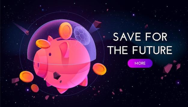 Salve para banner futuro. conceito de estratégia financeira e poupança de aposentadoria de proteção.