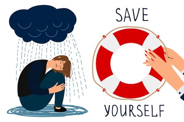 Salve-se conceito. ilustração deprimida de menina e bóias de vida