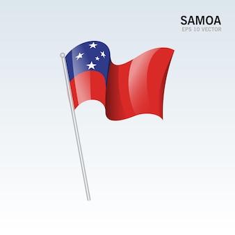 Samoa agitando bandeira isolada em cinza