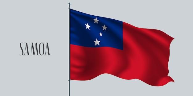 Samoa agitando bandeira no mastro da bandeira