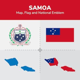 Samoa mapa, bandeira e emblema nacional