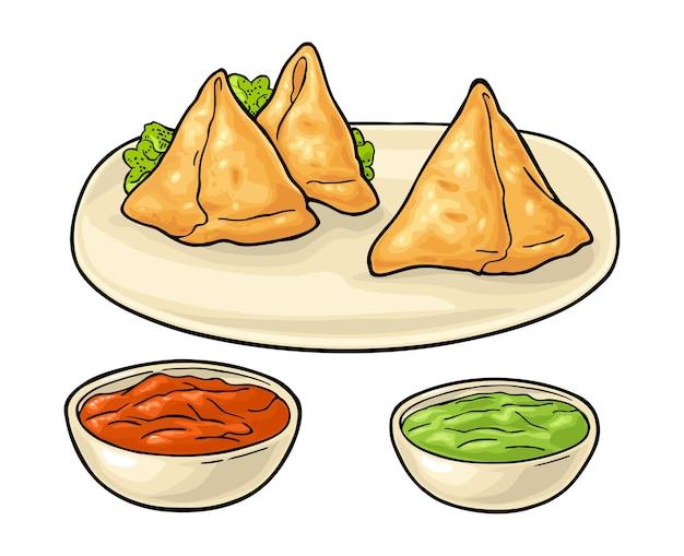 Samosa a bordo com molhos na tigela. comida tradicional indiana. ilustração plana de cor. isolado no fundo branco.