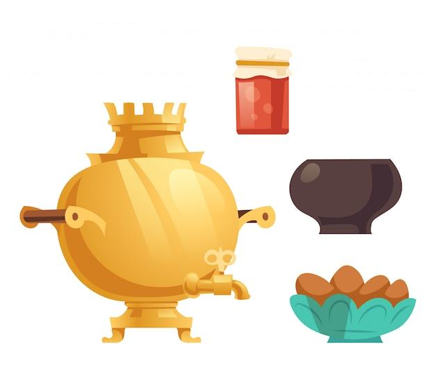 Samovar, geléia em jarra de vidro, panela e bolos