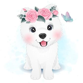 Samoyed pequeno bonito com ilustração floral