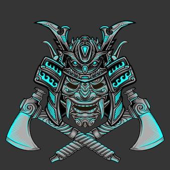 Samurai axe warrior vector