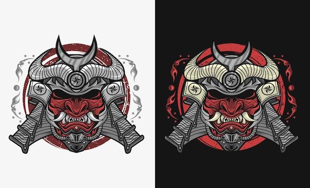 Samurai com desenho de ilustração de máscara hannya