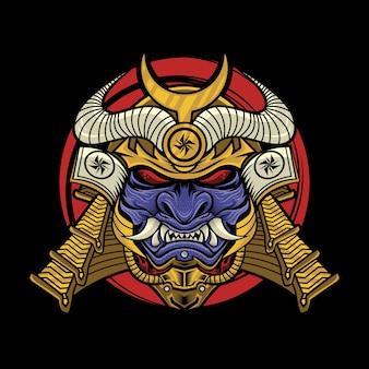 Samurai com ilustração de máscara oni