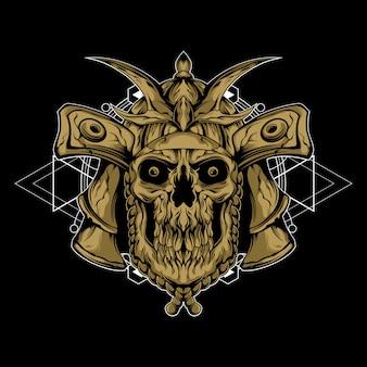 Samurai da morte com geometria sagrada