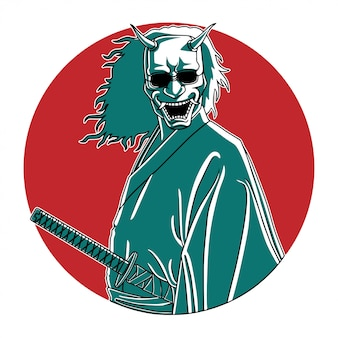 Samurai de máscara de oni, vetor de ilustração de mão desenhada