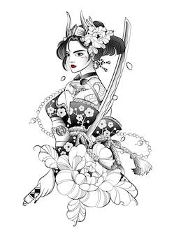 Samurai de mulher japonesa com uma espada grande