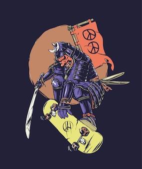 Samurai de skate com símbolo da paz