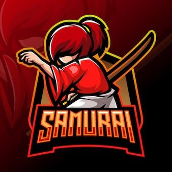 Samurai esport design de mascote de logotipo
