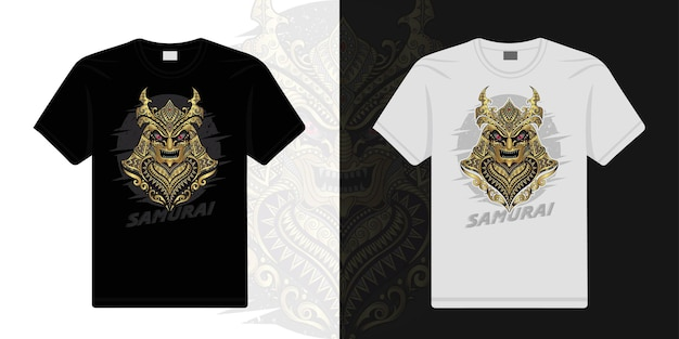 Samurai estilizado em vetor étnico de fundo preto e branco