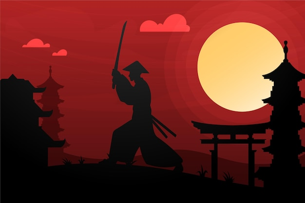 Samurai gradiente no fundo do amanhecer