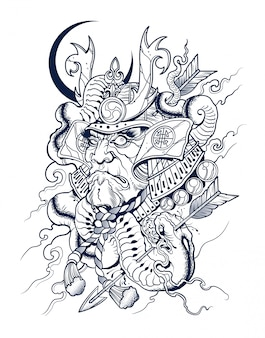 Samurai japonês assustador mata uma cobra