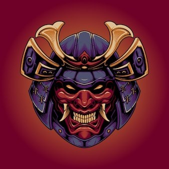 Samurai japonês com máscara do diabo