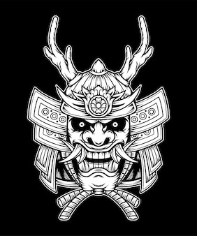 Samurai japonês monocromático. vetor premium