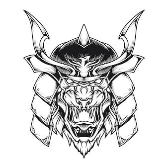 Samurai lion head line art illustration