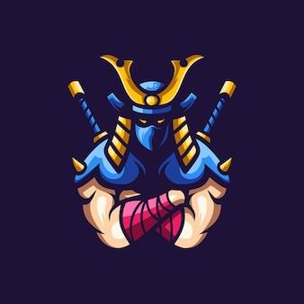 Samurai logo esport ilustração impressionante
