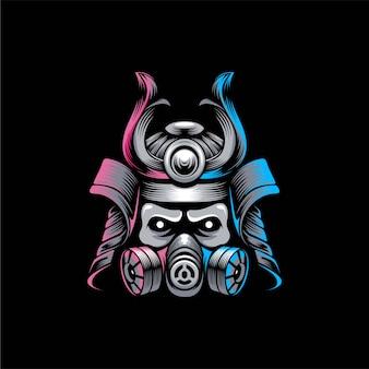 Samurai mask logo design ilustração