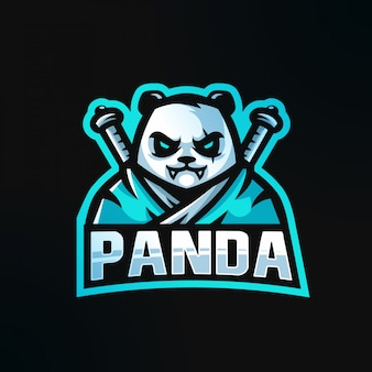 Samurai panda com logotipo da espada katana logotipo da mascote esport
