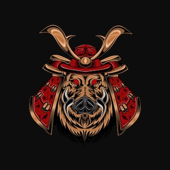 Samurai ronin devil skull ilustração com mecha armor