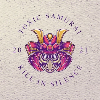 Samurai tóxico com máscara de gás em design retro