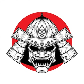 Samurai warrior helm illustration