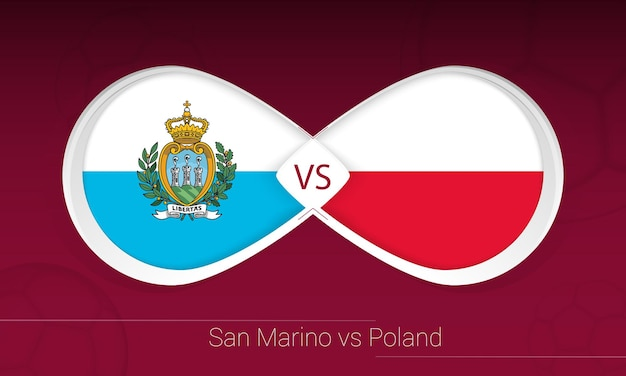 San marino vs polônia em competição de futebol, grupo i. versus ícone no fundo do futebol.