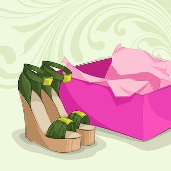 Sandálias verdes de mulher moderna