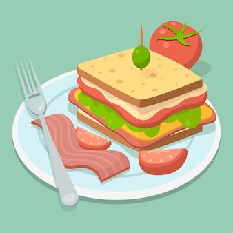 Sanduíche com bacon e tomate comida caseira