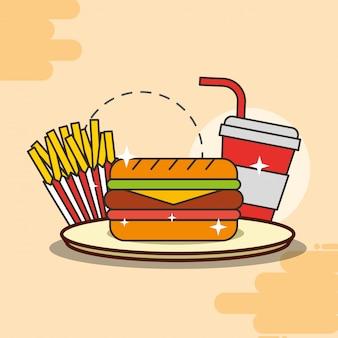 Sanduíche de batata frita e refrigerante fast food