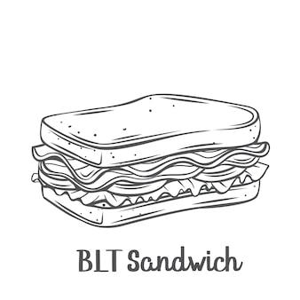 Sanduíche de blt com ilustração de contorno desenhado de bacon, alface e tomate.