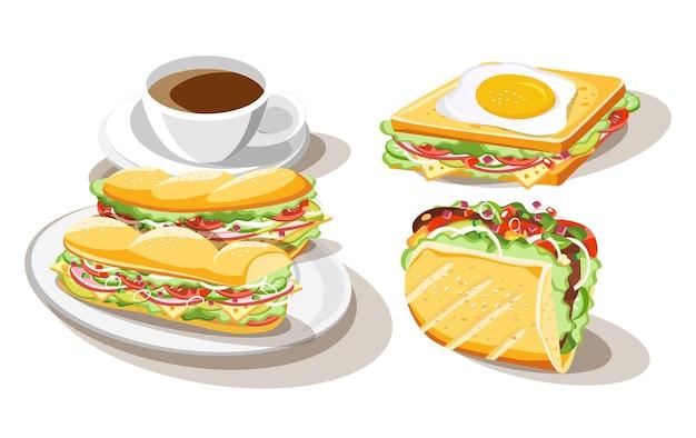 Sanduíche de café da manhã conjunto de comida em fundo branco, ilustração