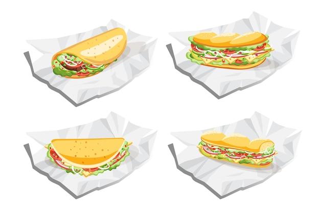 Sanduíche de café da manhã, taco e burrito, ilustração vetorial de fast food Vetor Premium