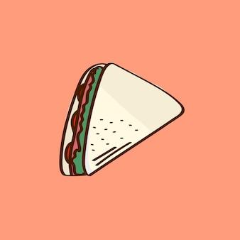 Sanduíche de clube desenhado à mão