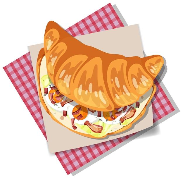 Sanduíche de croissant de café da manhã com bacon e ovo isolado