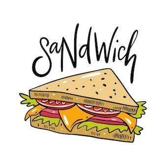 Sanduíche desenhado à mão