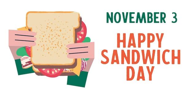 Sanduíche feliz dia de sanduíche. ilustração em vetor engraçada em estilo cartoon plana