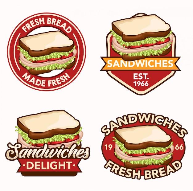 Sanduíche logotipo conjunto de ações vetor