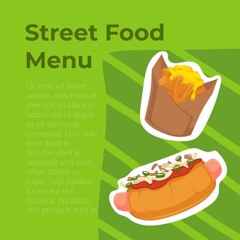 Sanduíches e petiscos, cardápio de comida de rua. preencher o pão de cachorro-quente com salsichas e ketchup. batatas grelhadas em pacote. anúncio ou pôster de café ou bistrô. ilustração vetorial em estilo simples