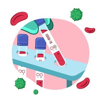 Sangue positivo em um tubo de ensaio de coronavírus