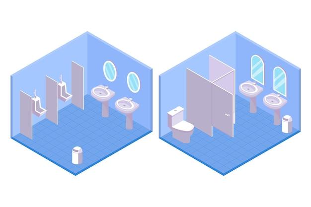 Sanitários públicos isométricos para ilustração masculina e feminina