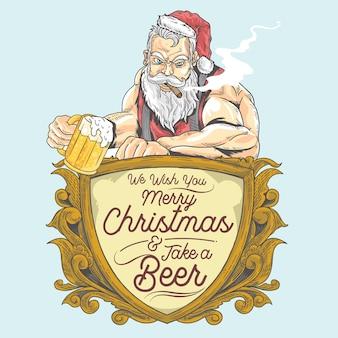 Santa bebe uma cerveja