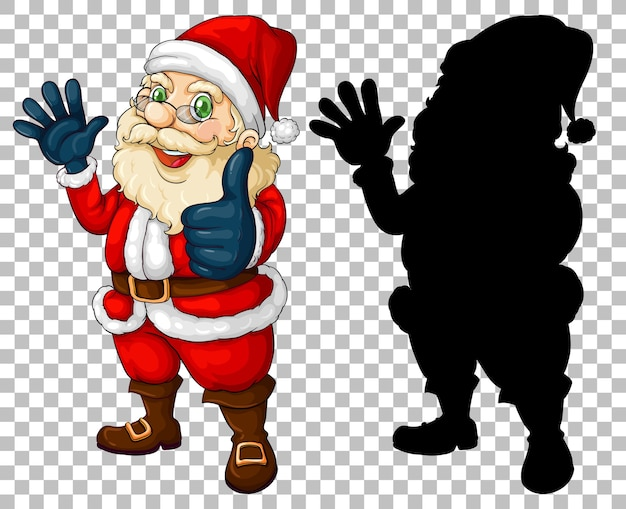 Santa cartoon personagem e sua silhueta
