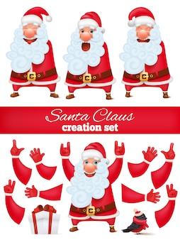 Santa claus cartoon personagem criação conjunto de diy. coleção de várias emoções e gestos.